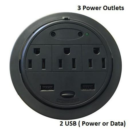 Home 'n' Office PowerTap Grommet Desk Outlet Table - Hidden Power Center (3 Power/2 USB (Power or (Centre De Table D'halloween)