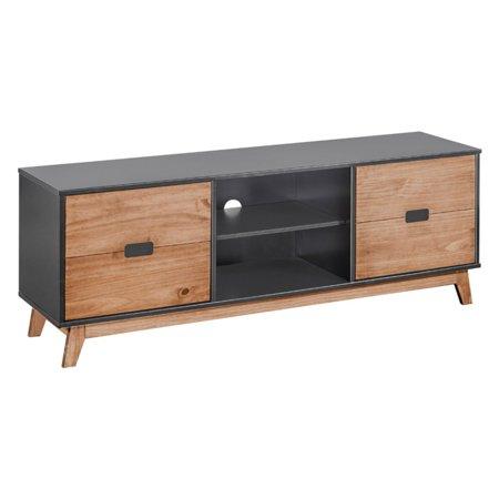 Natural Wood Tv Stand (Mid- Century Modern Vandalia 55.11