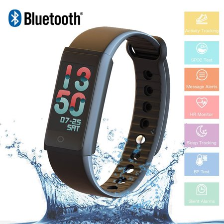 Fitness Tracker Watch Smart Band Bracelet Heart Rate Blood Oxygen Pressure Monitor Bluetooth WristBand Activity Trackers Pedometer Waterproof for Kids Women Men Android iOS Smart phones ()