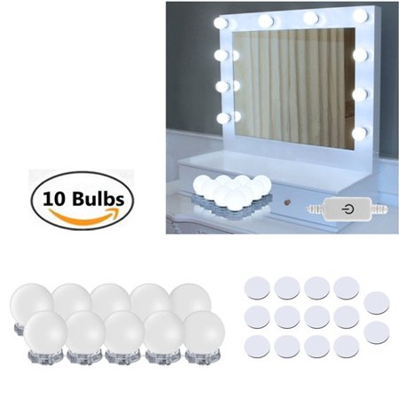 Hollywood Style LED Vanity Mirror Lights Kit Makeup Mirror Lights with 10 Dimmable Light Bulbs for Makeup Dressing Table and Power Supply Plug in Lighting Fixture