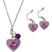 Candy Heart Be Mine Necklace and Earrings Set