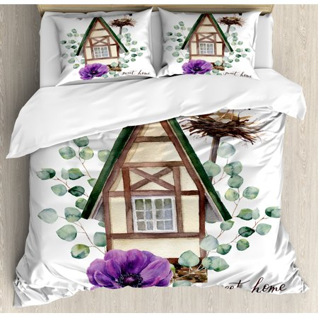 Anemone Flower King Size Duvet Cover Set, Watercolor Happy Home Label House in Alpine Style White Stork Nest, Decorative 3 Piece Bedding Set with 2 Pillow Shams, Green Purple Brown, by Ambesonne