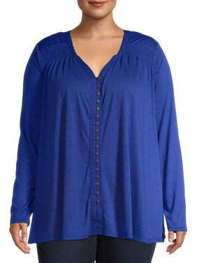 Terra & Sky Women's Plus Size Smocked Shoulder Button-Front Long Sleeve Tunic Top