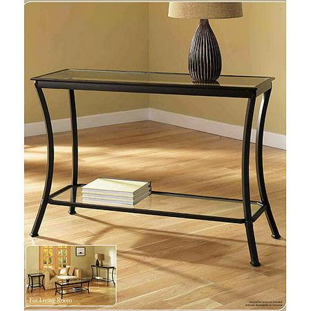 Mendocino Console Table, Metal & Glass - Mendocino 3 Piece Coffee, Console & End Table Value Bundle, Metal