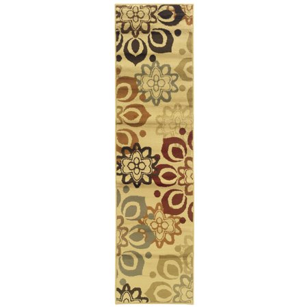 Moretti Langston Area Rugs - 4441W Transitional Casual Beige Leaves Petals Flowers Circles Rug
