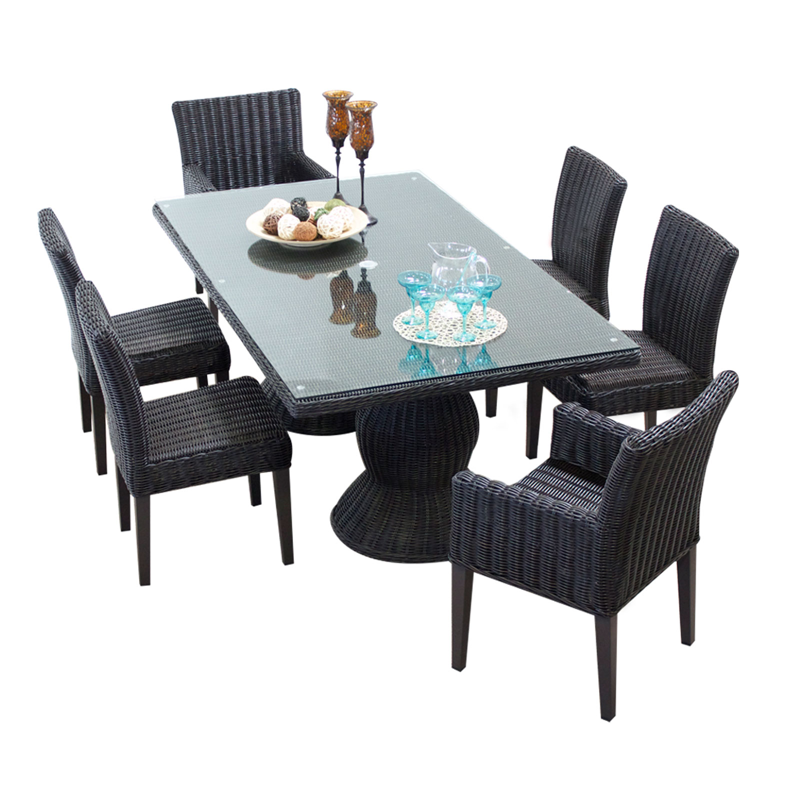 Rustico Rectangular Outdoor Patio Dining Table With 6 Chairs