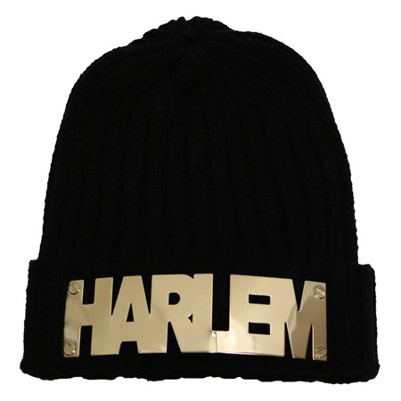 City Hunter Sk1180 Harlem Gold Metal Logo Beanie Hat - Party City In Harlem