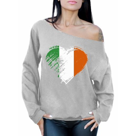 Awkward Styles Irish Flag Heart Sweatshirt St. Patricks Day Off Shoulder Top Proud Irish Sweatshirt for Women Irish Pride Gifts for Her Irish Flag Distressed Irish Sweatshirt St Paddy's Day Sweater - St Patricks Day Clothing