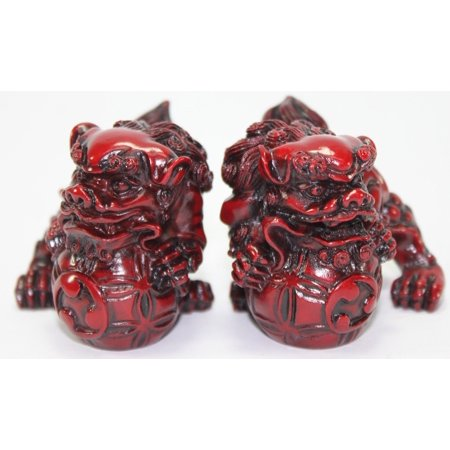 """Feng Shui Pair of 2"""" Red Fu Foo Dogs Guardian Lion Statue Paperweights Gift Set -D"""