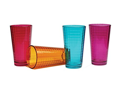 Palais Glassware Vitre Collection; Glass Beverage Set (Set of 4 17 Oz Highballs, Fuschia... by Palais Glassware