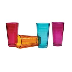 Palais Glassware Vitre Collection; Glass Beverage Set (Set of 4 - 17 Oz Highballs, Fuschia|Blue|Orange|Purple)