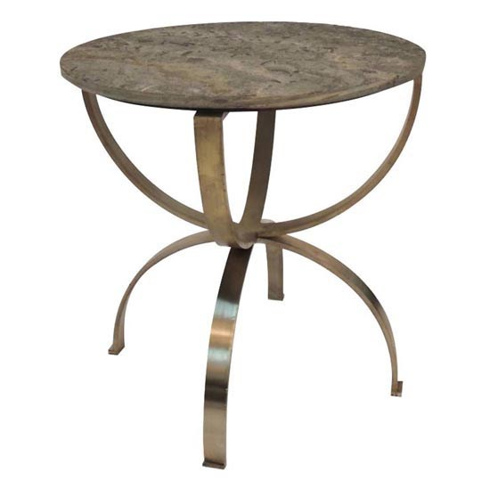 Begal Manor Curved Aged Brass Round Accent Table With Textured