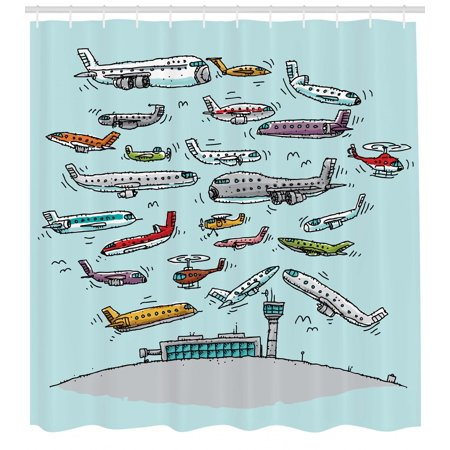 Airplane Shower Curtain Planes Fying In Air Aviation Love Airport Helicopters And Jets Cartoon Style