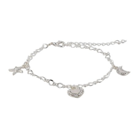 Silver Tone Chain Star Moon Heart Charm Bracelet Fits Most Including Large Sizes (Moon And Star Charm Bracelet)