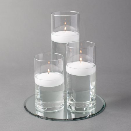 "Eastland Round Mirror 10"" and Cylinder Vase with 3"" White Floating Candle Set of 4"