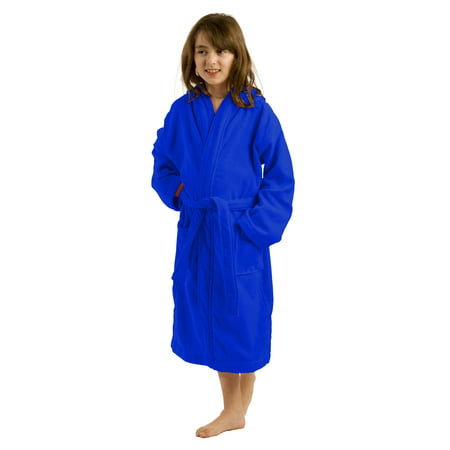 Terry Hooded Kids Robes, Bathrobes, Medium, Royal Blue - Kids Bathrobe