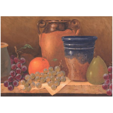 Prepasted Wallpaper Border - Kitchen Table Jug Grape Pear Orange Brown Wall  Border Retro Design, Roll 15 ft. x 10 in.