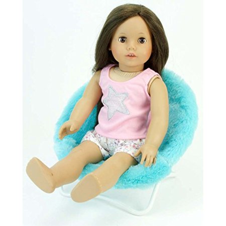 Phenomenal 18 Inch Doll Furniture Fuzzy Aqua Papasan Chair Perfect For Your 18 Inch American Girl Doll Clothes And More Aqua Doll Saucer C Home Interior And Landscaping Ymoonbapapsignezvosmurscom