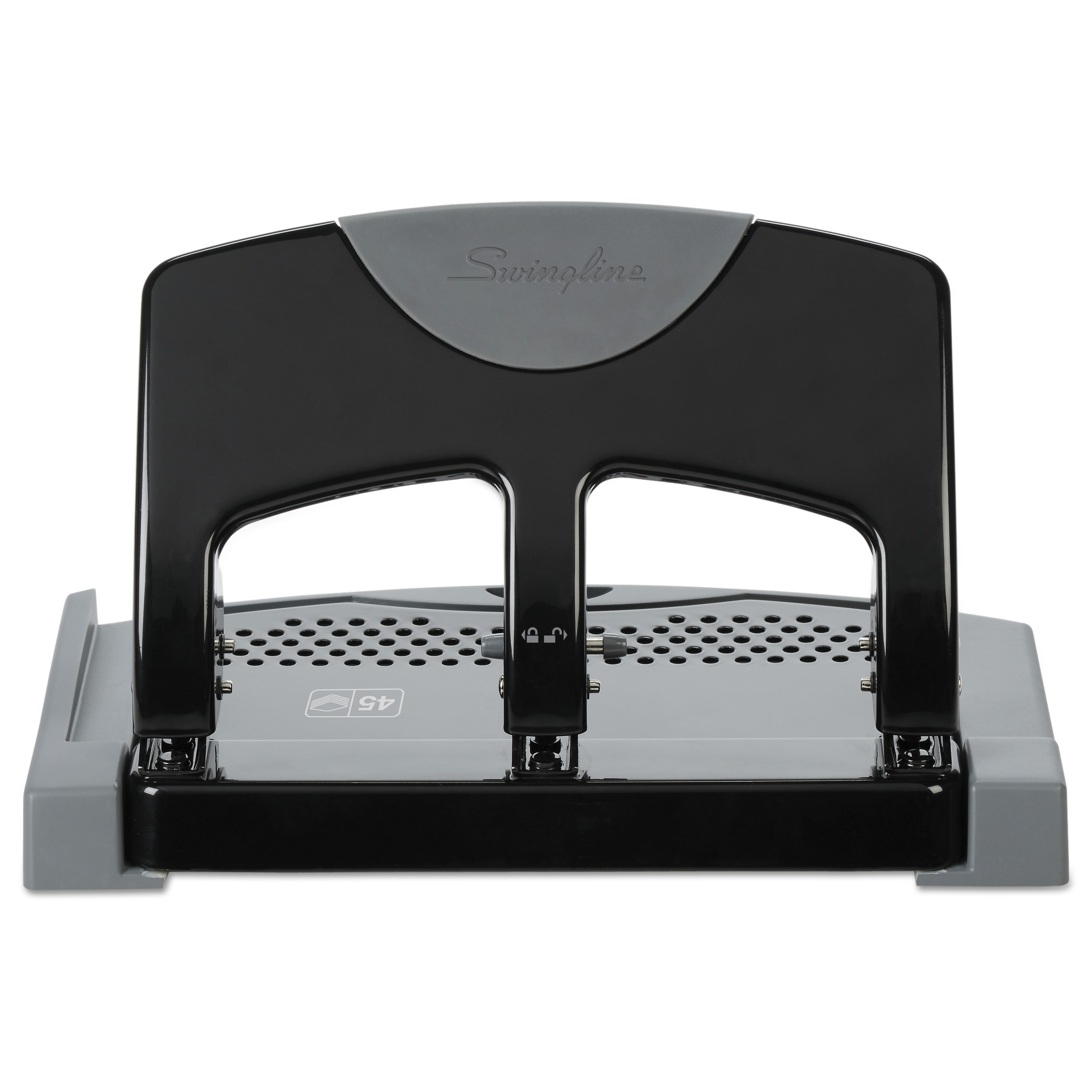 "Swingline 45-Sheet SmartTouch Three-Hole Punch, 9/32"" Holes, Black/Gray"