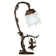 Meyda Tiffany Cherub On Swing 16'' H Table Lamp with Bell Shade