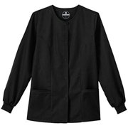 F3 Fundamentals By White Swan Women's Snap Front Warm Up Solid Scrub Jacket X-Small Black