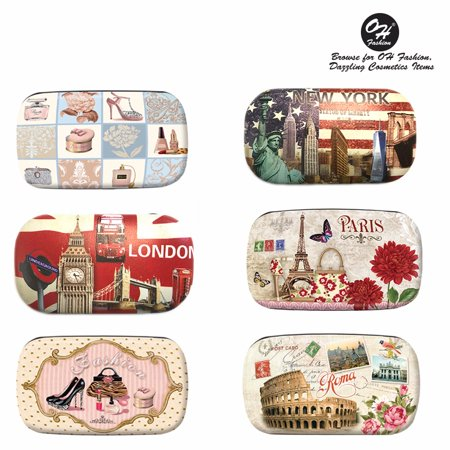 OH Fashion Contact Lens Case Cities Designs PARIS Portable Case Travel Kit Contacts Holder with Contact Case Holder for Contacts Solution and Mirror Eye Care 1 PC for $<!---->