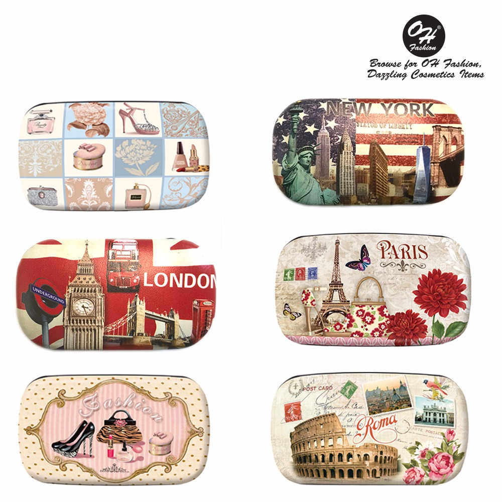 OH Fashion Contact Lens Case Cities Designs PARIS Portable Case Travel Kit Contacts Holder with Contact Case Holder for Contacts Solution and Mirror Eye Care 1 PC