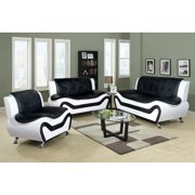 Golden Coast Furniture 3 Piece Aldo Modern Sofa Set, Black & White