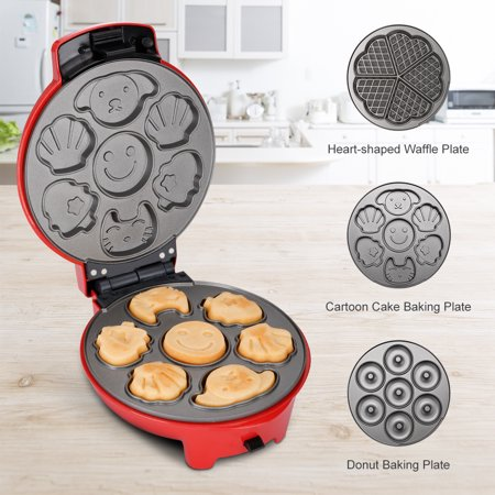 Finether Mini 3-in-1 Non-Stick Snack Maker, Aluminum Multi-Plate Waffle Iron for Donuts Heart-Shaped Waffles Cartoon Cakes, Adjustable Temperature, Easy to Clean, Cord Wrap & Cool Touch Handle, Red (Waffle Iron Power Cord)