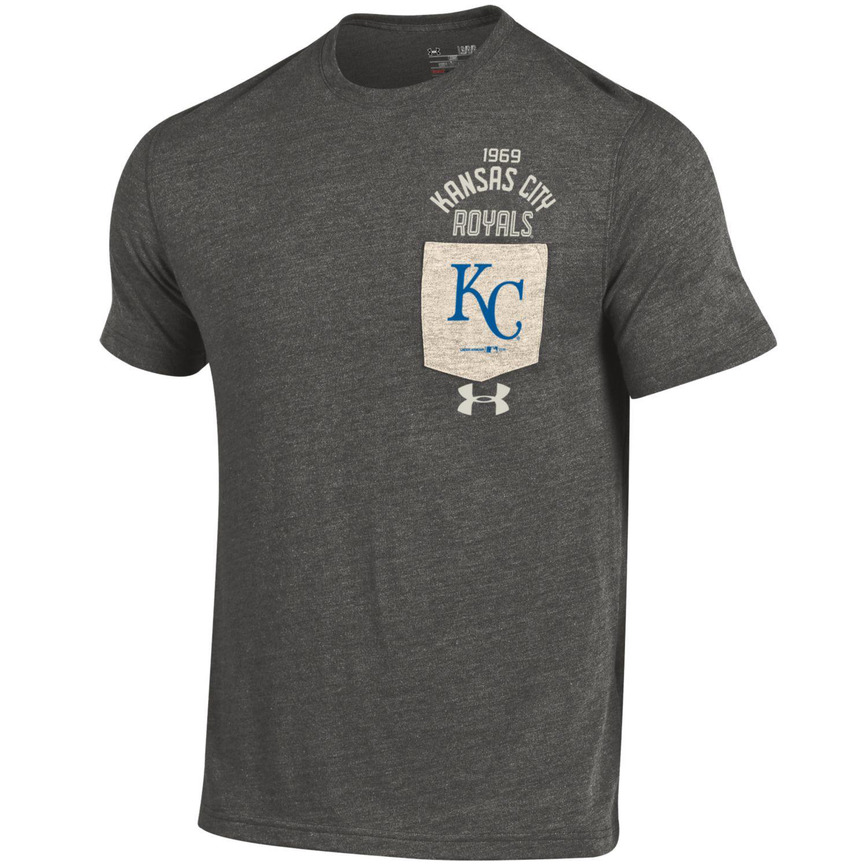 Kansas City Royals Under Armour Tri-Blend Pocket Performance T-Shirt - Gray