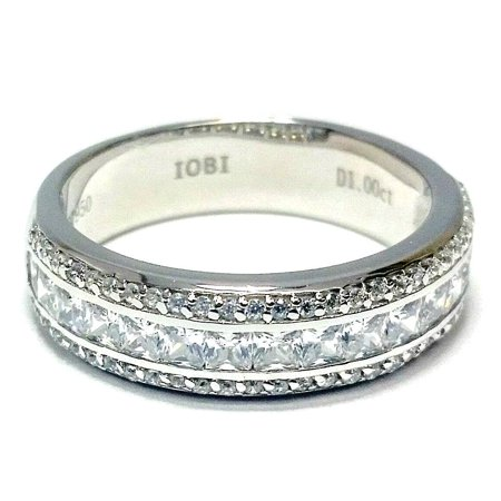 Adalyne 1CTW Channel Set Princess and Pav Band IOBI Cultured Diamond Ring 6.5