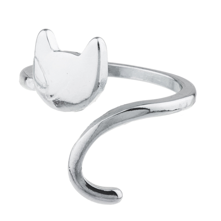 Lux Accessories Silvertone Cat Kitten Kitty Emoji Novelty Open Ended Ring Size 8 (Emoji Ring)