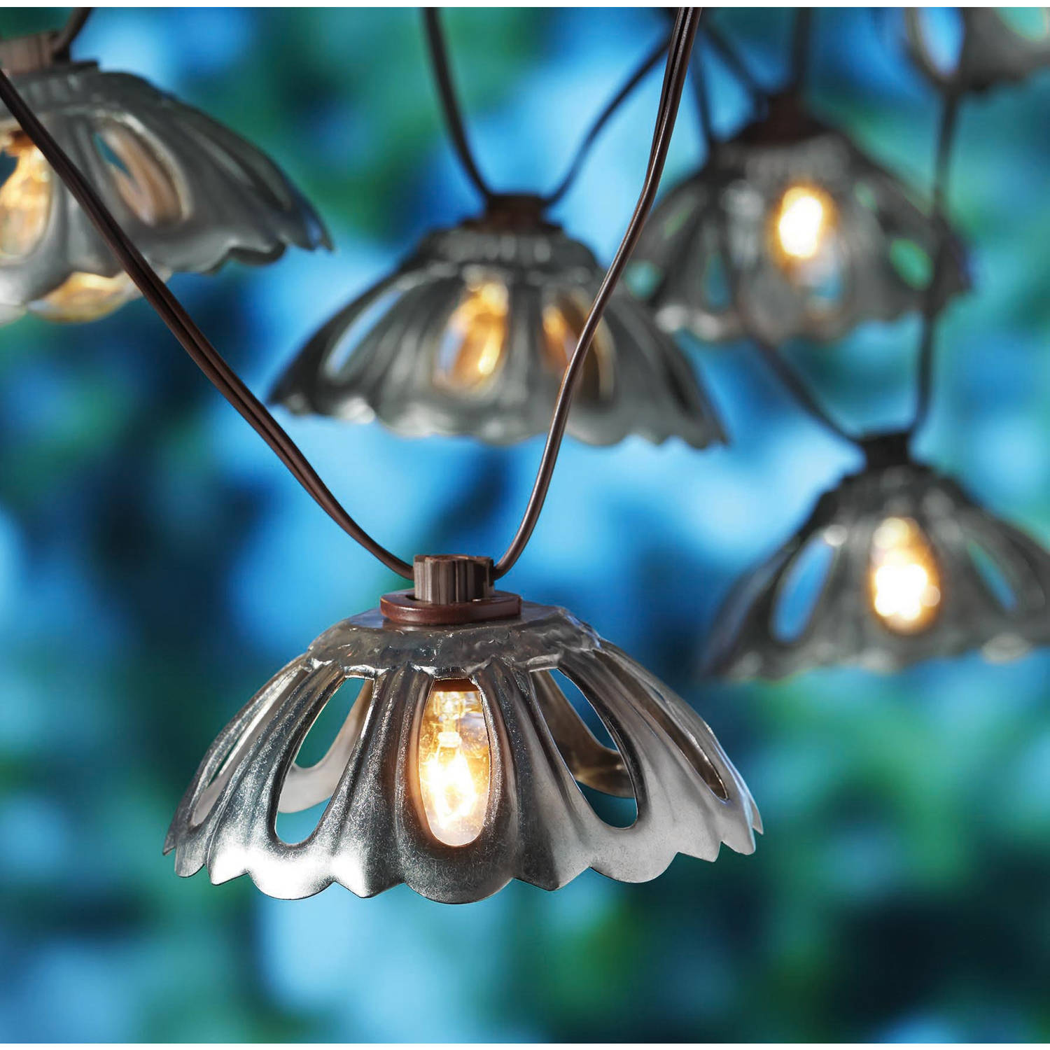 Better Homes Gardens Outdoor Galvanized Finish Metal Hood Lantern String Lights 10ct