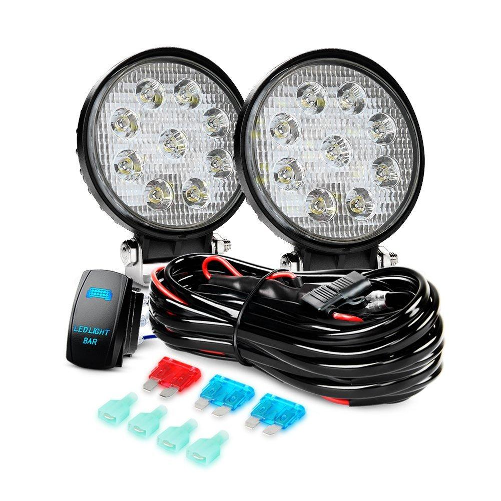 Nilight LED Light Bar 2PCS 27W Spot Led Off Road Lights 12V 5Pin Rocker Switch LED Light Bar Wiring Harness Kit , 2 Years Warranty