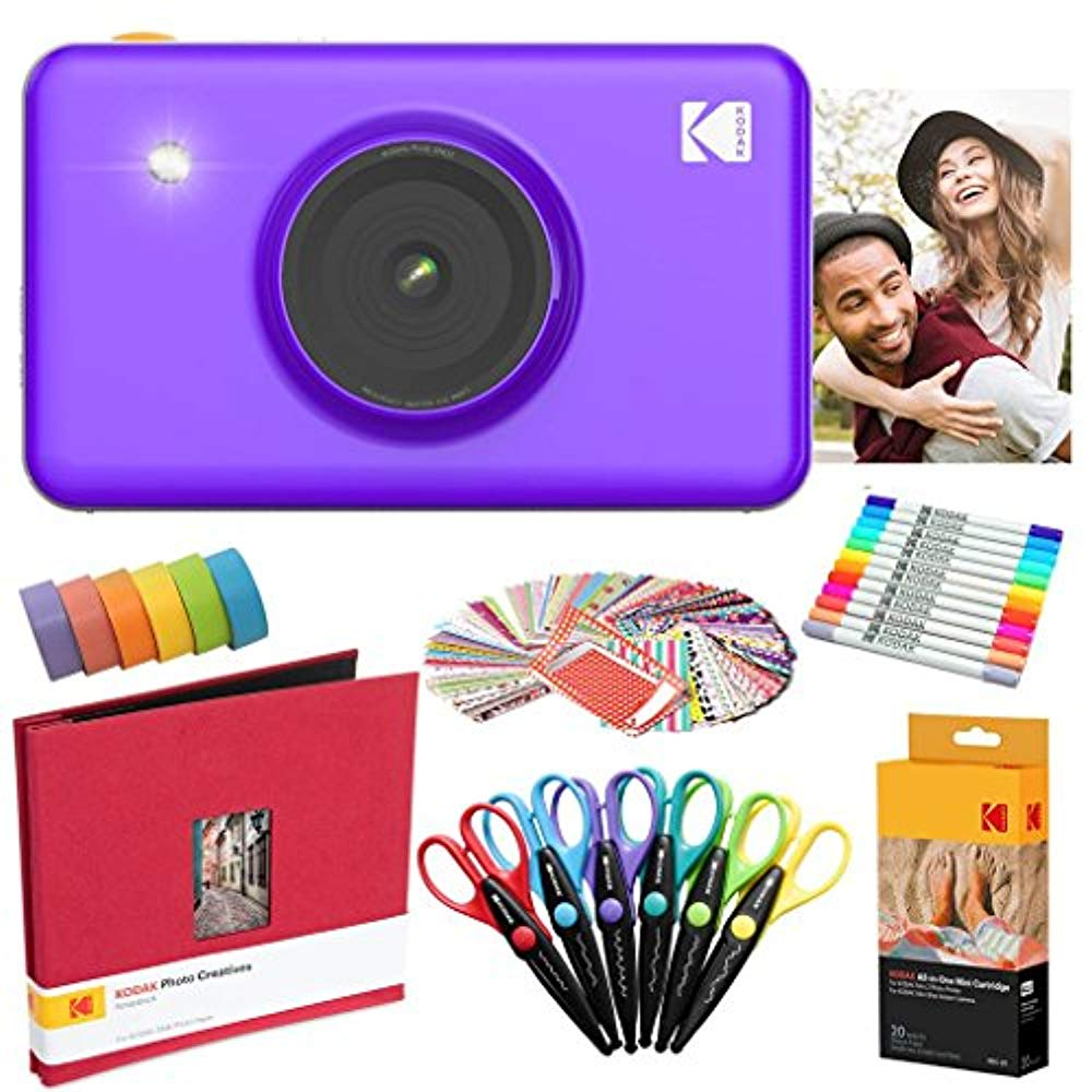 Kodak Mini Shot Instant Camera (Purple) Art Bundle + Paper (20 Sheets) + 8x8 Cloth Scrapbook + 12 Twin Tip Markers + 100 Border Stickers + 6 Decorative Scissors + Washi Tape - image 8 of 8