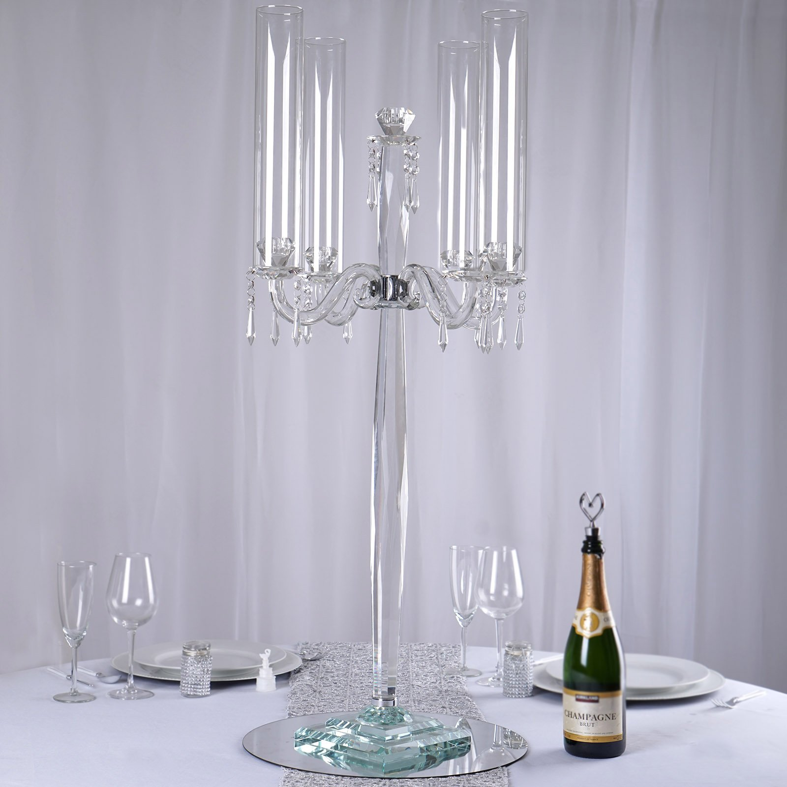 Efavormart 35 5 Tall Handcrafted 4 Arm Crystal Glass Tabletop Candelabra Baroque Taper Votive Candle Holder Centerpieces Premium Walmart Com Walmart Com