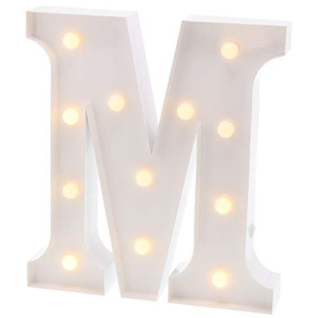 Barnyard Designs Metal Marquee Letter M Light Up Wall Initial Wedding, Bar, Home and Nursery Letter Decoration 12