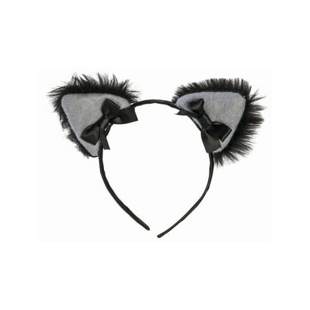 Halloween Black Cat Furry Cat Ears Headband](Make Black Teeth Halloween)