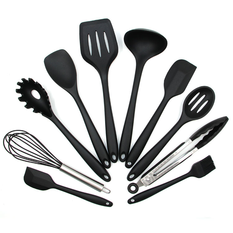 Silicone Kitchen Utensils 10 Piece Cooking Utensil Set, Made of FDA Grade, BPA Free Silicone, Heat Resistant up to 450 Degrees Fahrenheit, Non Stick Stain & Ordor Resistant, Dishwasher Safe - Black