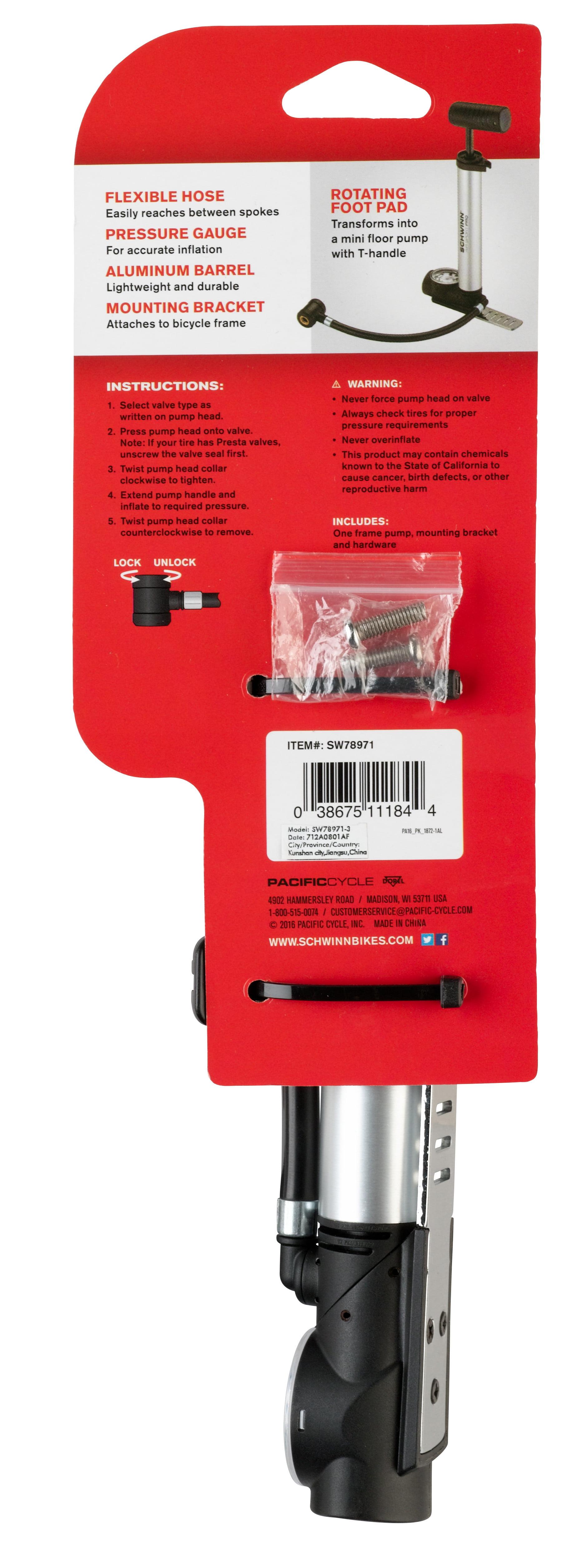 Schwinn Air Sport Pro Frame Pump - Walmart.com