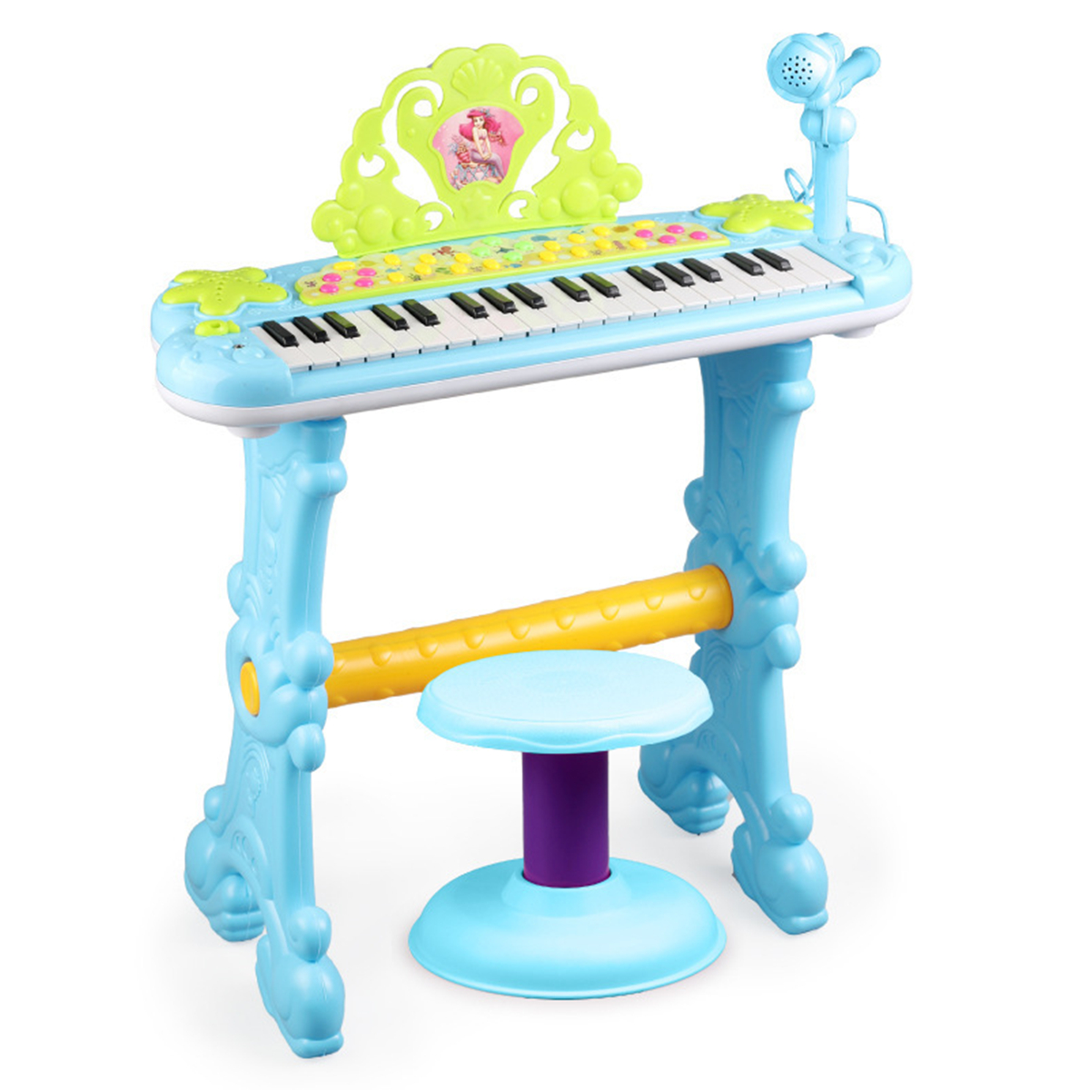 Meigar 37 Key Kids Electronic Keyboard Mini Grand Piano Stool Microphone Musical Toys