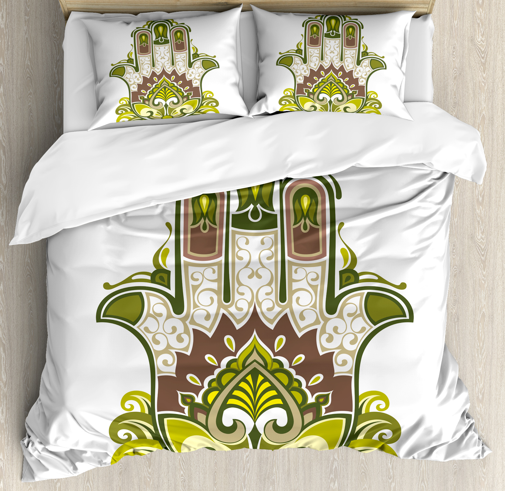 Hamsa King Size Duvet Cover Set, Asian Symbol with Mandala Inspired Motifs Lotus Paisley Traditional, Decorative 3 Piece Bedding Set with 2 Pillow Shams, Dimgrey Green Apple Green, by Ambesonne