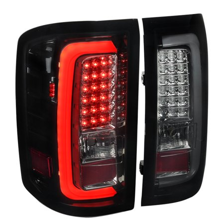 Pickup Tail Light Lens (Spec-D Tuning For 2014-2018 Gmc Sierra 1500 Pickup Smoke Lens Rear Brake Lamps Led Glossy Black Tail Lights (Left + Right) 2014 2015 2016 2017)