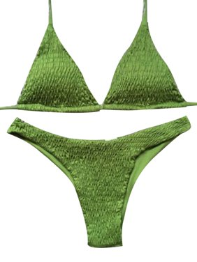 Topcobe Womens Padded Bra Bikini Set Swimsuit for Summer Beach, Bandage Push-up Triangle Swimwear for Women, T2882AGS Army Green Two Piece Swimsuits for Juniors