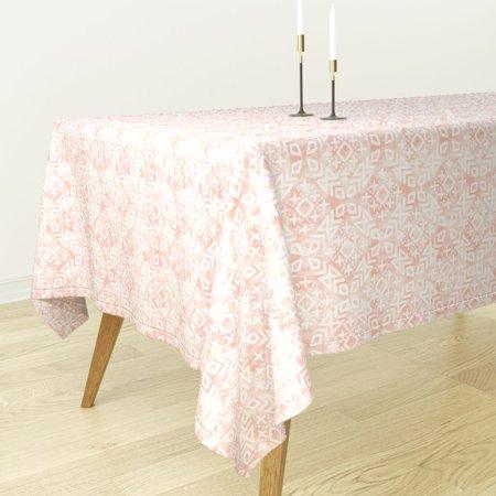 Tablecloth Pink Blush Moroccan Trendy Tribal Modern Cotton Sateen