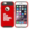 For Apple (iPhone 8) Shockproof Impact Hard Soft Case Cover Eat Sleep Baseball Repeat (Red) For Apple (iPhone 8) Shockproof Impact Hard Soft Case Cover Eat Sleep Baseball Repeat (Red)