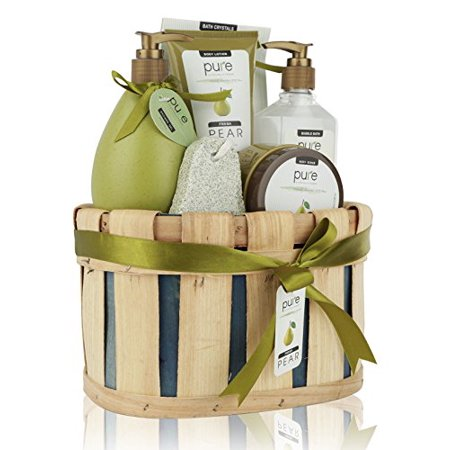 Gift Baskets Canada Spa - Pure! Rachelle Parker Luxury Pear Spa Gift Basket - Deluxe Edition - Super Size Wrapped & Ready to Gift!