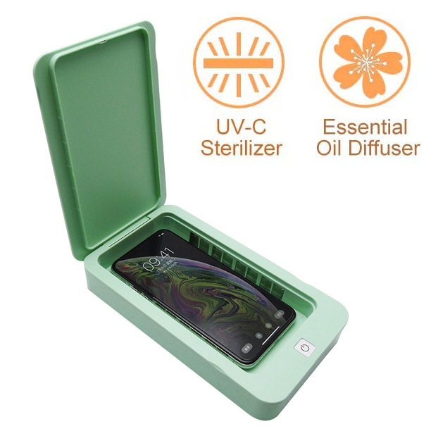 Cell Phone Sanitizer UV Light Smartphone Sanitizer Sterilizer Box Cell Portable Phone Cleaner with Aromatherapy Function for Face Mask iPhone Android Cell Phone Keys Watches Earphones