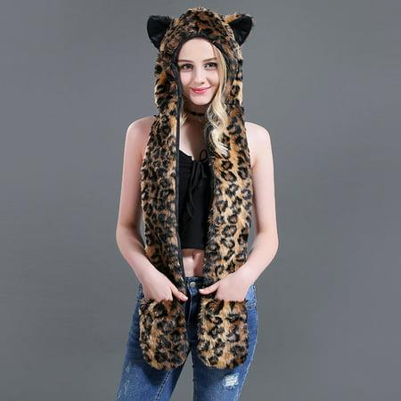 Tailored Women Fashion Multifunction Scarf Outerwear Gloves Faux Fur Animal Ear Hat (Animal Hats For Women)