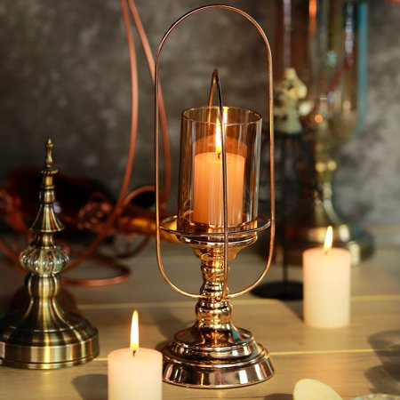 Efavormart Gold Metal Coiled Design Glass Hurricane Candle Holder Table Centerpiece (Hurricane Coil)